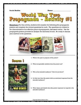World War Two (WWII) - Analyzing Propaganda Source Analysis
