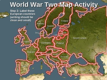World War Two (WWII) Map Activity; EUROPEAN THEATER Fun, Interactive 20slide PPT