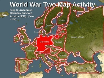 (WWII) World War Two Map Activity; NAZI EXPANSION -Fun, Interactive 22-slide PPT