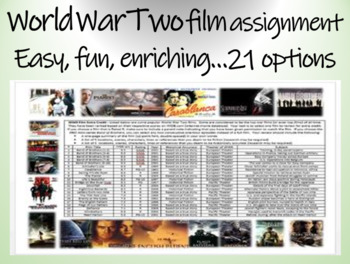 World War Two (WWII) film assignment - easy, fun, enriching... 21 options