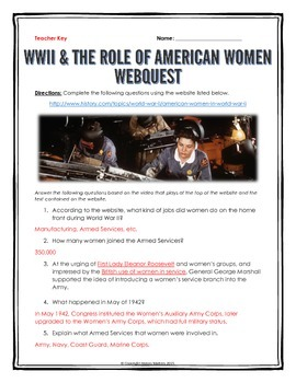 World War Two and the Role of American Women - Webquest with Key
