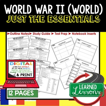 World WarII,  WWII Outline Notes JUST THE ESSENTIALS Unit Review