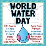 World Water Day Trifold Research Brochure, 3 Flip Books, Info Sheet, Map Work