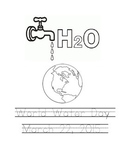 World Water Day coloring page with writing.