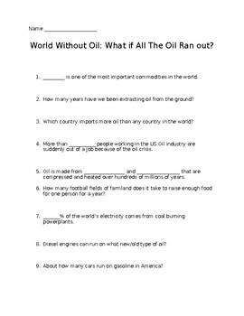 World Without Oil Documentary Worksheet