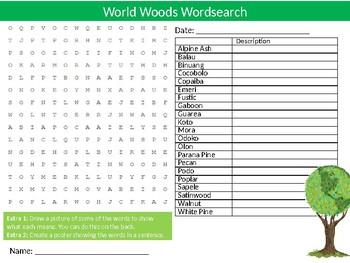 World Wood Types Wordsearch Sheet Starter Activity Keywords Cover Design