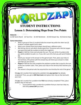 {World Zap Board Game} Determine Slope from Two Points
