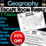 World and US Geography Escape Room Bundle:  States/ Capitals, Africa, Asia, etc.