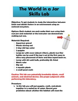 The World in a Jar Skills Laboratory with Worksheet and Answer Key