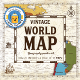 World map and continents: Vintage style geography poster s