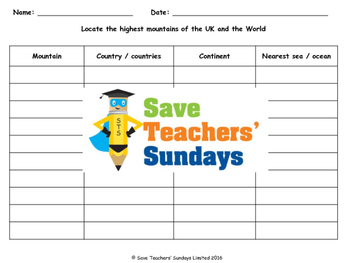 World mountains table (using an atlas) Lesson plan, Instructions and Worksheet