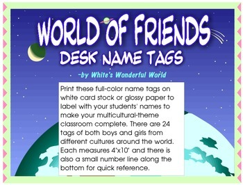 World of Friends Desk Name Tags - Multicultural Name Plates