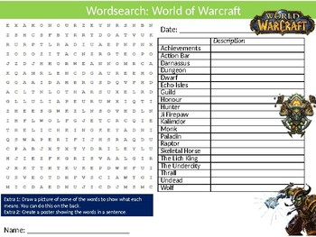 World of Warcraft Wordsearch Puzzle Sheet Keywords Videogames Computing