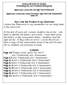 World of Wonders Pre-K and Transitional Kindergarten: Flashcards & Assessments