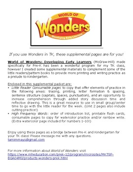 World of Wonders Supplemental Pages for TK & Pre-K (McGraw-Hill)