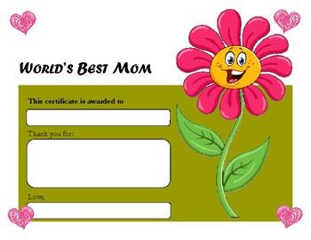 World's Best Mom Certificate