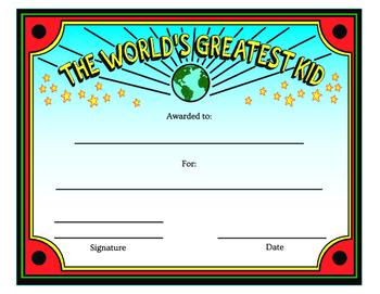 World's Greatest Kid Award - Colorful Printable