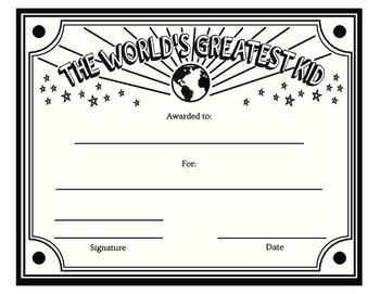 World's Greatest Kid Award black & white printable