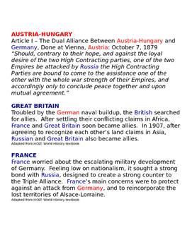 World war I alliances in Europe Handout