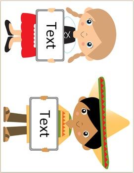 World-wide Kids - Editable Labels - Multi-cultural Theme