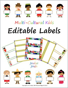 World-wide Kids - Editable Labels - Multi-cultural Theme