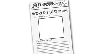 World's Best Mum Newspaper Template