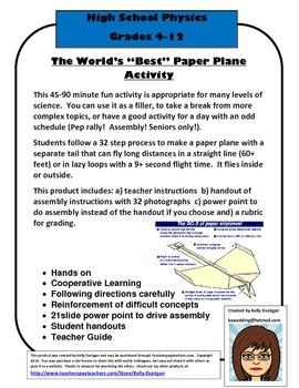 "World's ""Best"" Paper Airplane Activity - Physics"