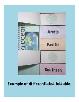 World's Oceans Interactive Science Notebook Foldable