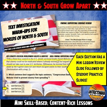 Worlds of North and South Pre-Civil War Warm-Ups Skill Based, Mini Lessons