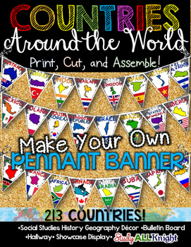 COUNTRIES AROUND THE WORLD CLASSROOM DECOR MAKE YOUR OWN PENNANT BANNER