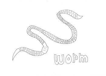Worm: Animals and Pets: Colouring Page