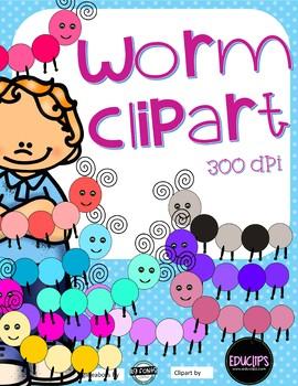 Worm Clipart - 10 colors - 300 DPI