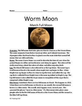 Worm Moon - Full Moon March - lesson history facts review questions activities