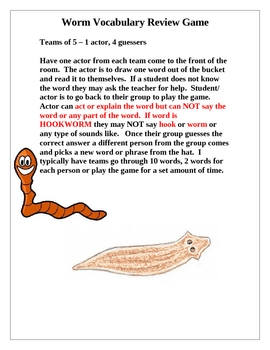 Worm Vocabulary Review Game