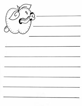 Worm and Apple Stationery - Writing printable