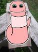 Worm paper bag puppet template
