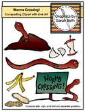 Worms Crossing! Composting Clipart - Earth Day Clipart - Graphics