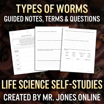 Worms: Roundworms, Flatworms & Segmented Worms Guided Notes / Self Study