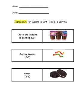 Worms in Dirt Recipe Vocabulary and Information Set