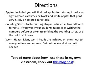 Wormy Apple Counting Strips: Counting by 1's, 2's, 5's 10's and more!
