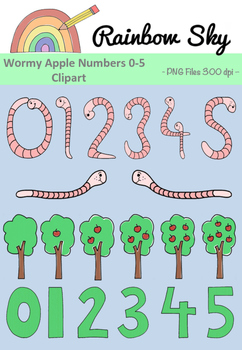 Wormy Apple Numbers Clipart 0-5 - Set for Teachers