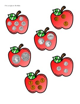 Wormy Apples - Counting Like Coins Math Center Game
