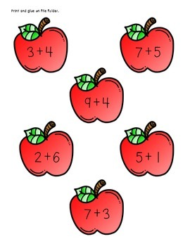 Wormy Apples - Single Digit Addition Math Center Game