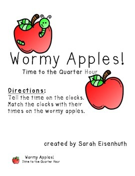 Wormy Apples - Telling Time to the Quarter Hour Math Center Game