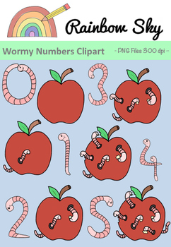 Wormy Numbers 0 - 5 Clipart