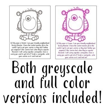 Worry Monster Activity & Worksheet: Anxiety Management