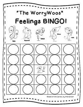 Worry Woos Feelings Bingo