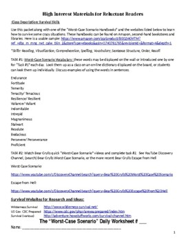 """Worst-Case Scenario"" Survival Readings Worksheet & Project"
