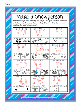 Algebraic Equations: Would You Help Me Make a Snowman?