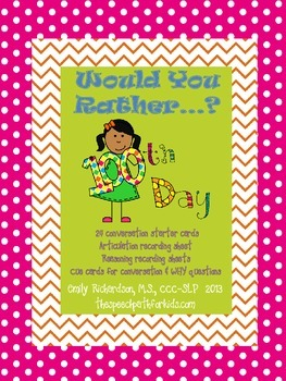Would You Rather: 100th Day of School Style